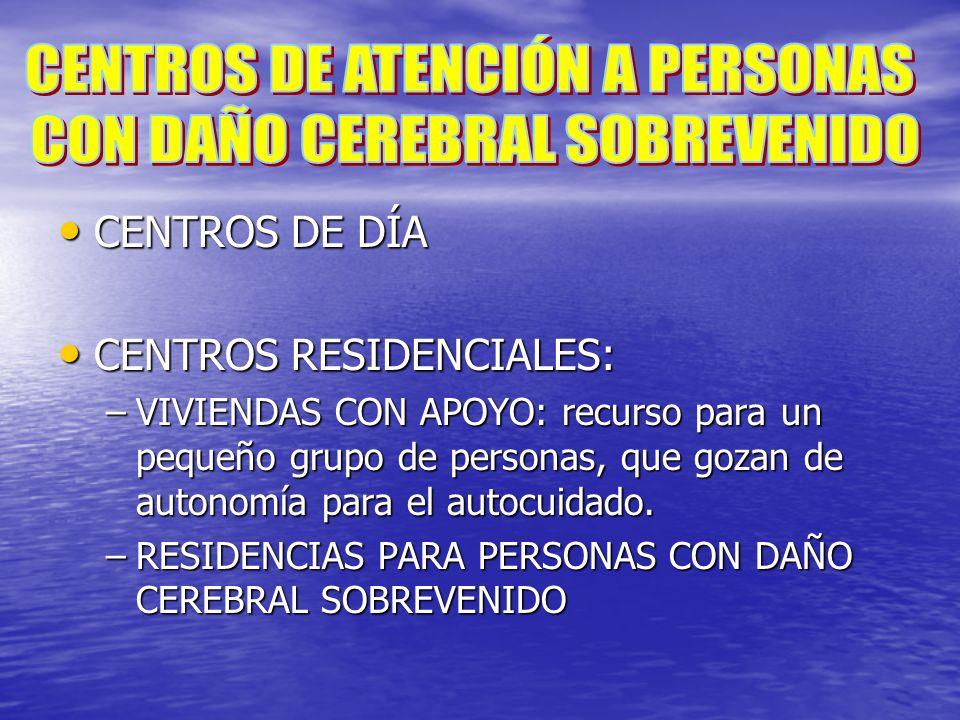 CENTROS DE DÍA CENTROS DE DÍA CENTROS RESIDENCIALES: CENTROS RESIDENCIALES: –VIVIENDAS CON APOYO: recurso para un pequeño grupo de personas, que gozan