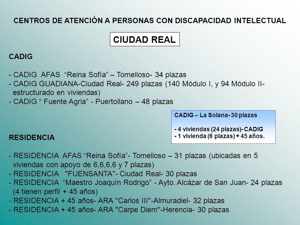 CENTROS DE ATENCIÓN A PERSONAS CON DISCAPACIDAD INTELECTUAL CADIG - CADIG AFAS Reina Sofía – Tomelloso- 34 plazas - CADIG GUADIANA-Ciudad Real- 249 pl