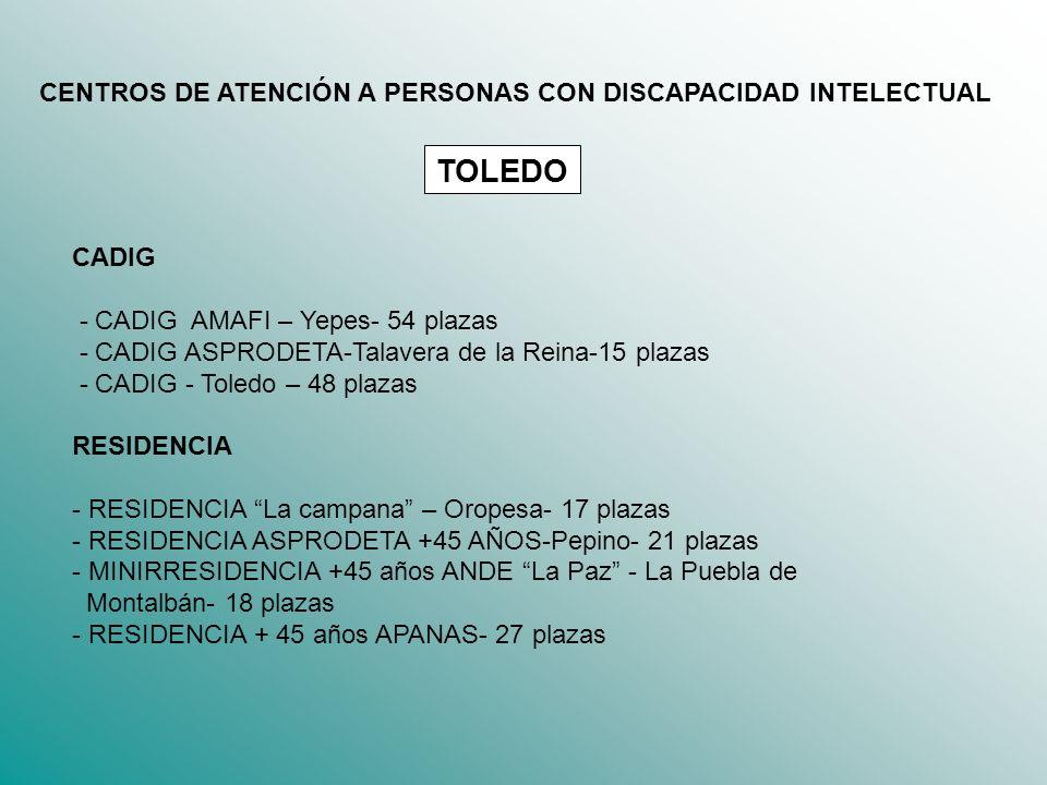 CADIG - CADIG AMAFI – Yepes- 54 plazas - CADIG ASPRODETA-Talavera de la Reina-15 plazas - CADIG - Toledo – 48 plazas RESIDENCIA - RESIDENCIA La campan