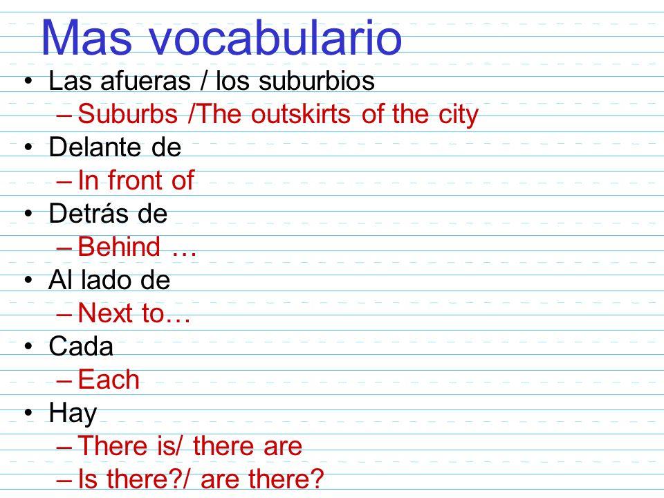 Mas vocabulario Las afueras / los suburbios –Suburbs /The outskirts of the city Delante de –In front of Detrás de –Behind … Al lado de –Next to… Cada