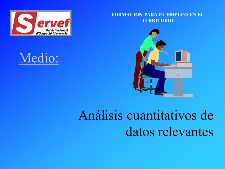 FORMACION PARA EL EMPLEO EN EL TERRITORIO Medio: Análisis cuantitativos de datos relevantes