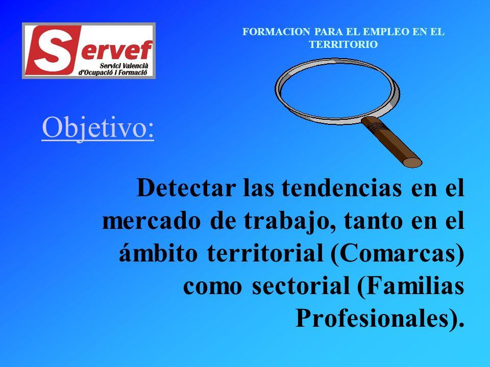 FORMACION PARA EL EMPLEO EN EL TERRITORIO Objetivo: Detectar las tendencias en el mercado de trabajo, tanto en el ámbito territorial (Comarcas) como sectorial (Familias Profesionales).