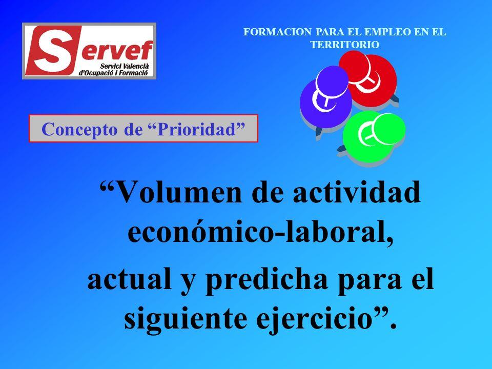 FORMACION PARA EL EMPLEO EN EL TERRITORIO Concepto de Prioridad Volumen de actividad económico-laboral, actual y predicha para el siguiente ejercicio.