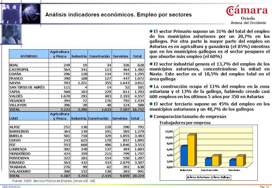 Pág. 14CEG OXXXX-MJ Antena del Occidente Análisis indicadores económicos. Empleo por sectores El sector Primario supone un 31% del total del empleo de