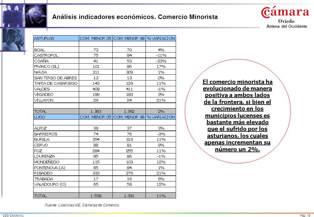 Pág.15CEG OXXXX-MJ Antena del Occidente Análisis indicadores económicos.