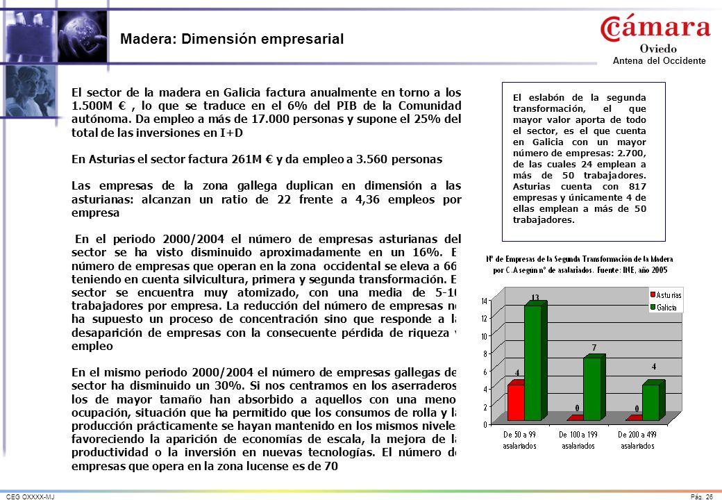 Pág. 26CEG OXXXX-MJ Antena del Occidente Madera: Dimensión empresarial El sector de la madera en Galicia factura anualmente en torno a los 1.500M, lo