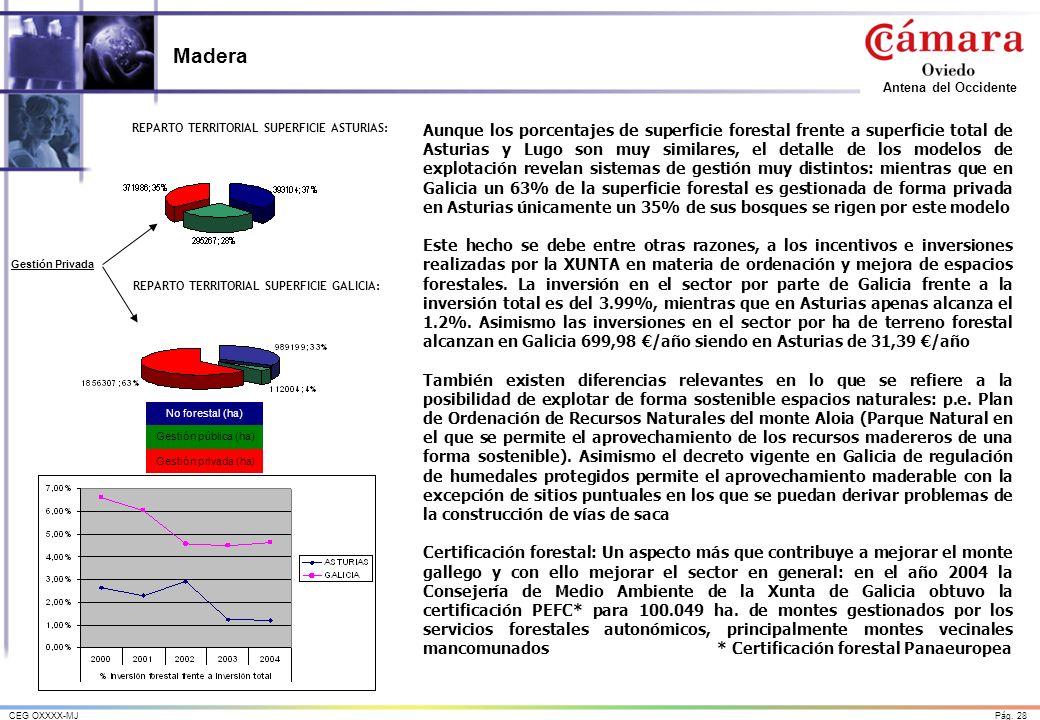 Pág. 28CEG OXXXX-MJ Antena del Occidente Madera Aunque los porcentajes de superficie forestal frente a superficie total de Asturias y Lugo son muy sim