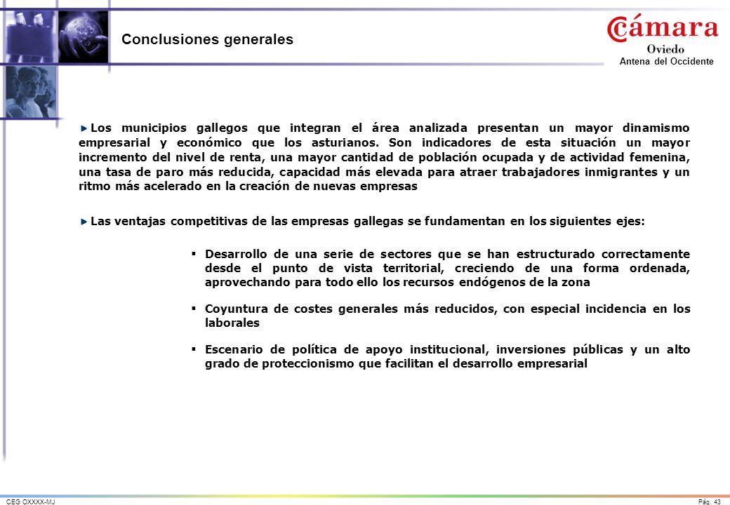 Pág. 43CEG OXXXX-MJ Antena del Occidente Conclusiones generales Los municipios gallegos que integran el área analizada presentan un mayor dinamismo em