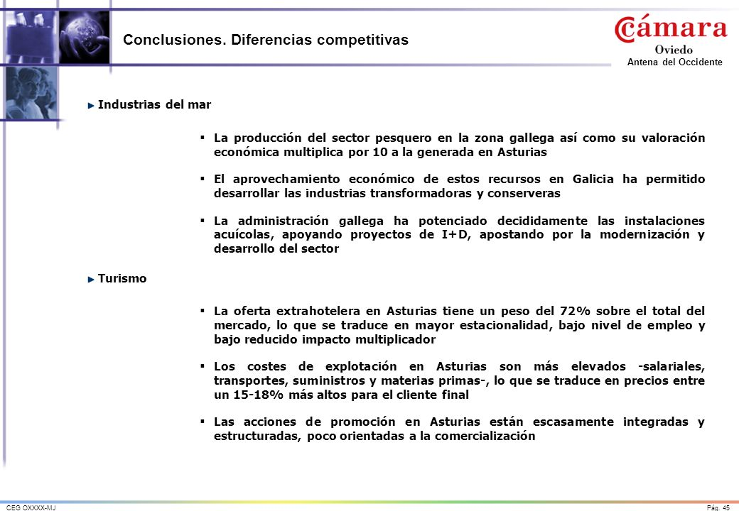 Pág. 45CEG OXXXX-MJ Antena del Occidente Conclusiones. Diferencias competitivas Industrias del mar La producción del sector pesquero en la zona galleg