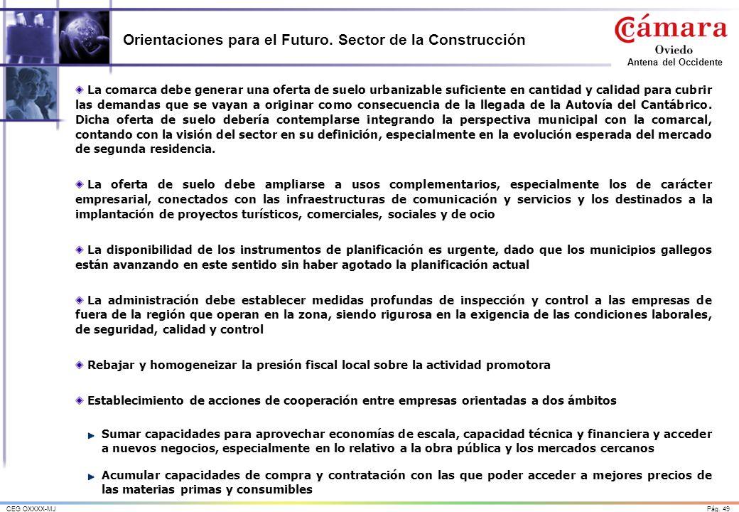 Pág. 49CEG OXXXX-MJ Antena del Occidente Orientaciones para el Futuro. Sector de la Construcción La comarca debe generar una oferta de suelo urbanizab