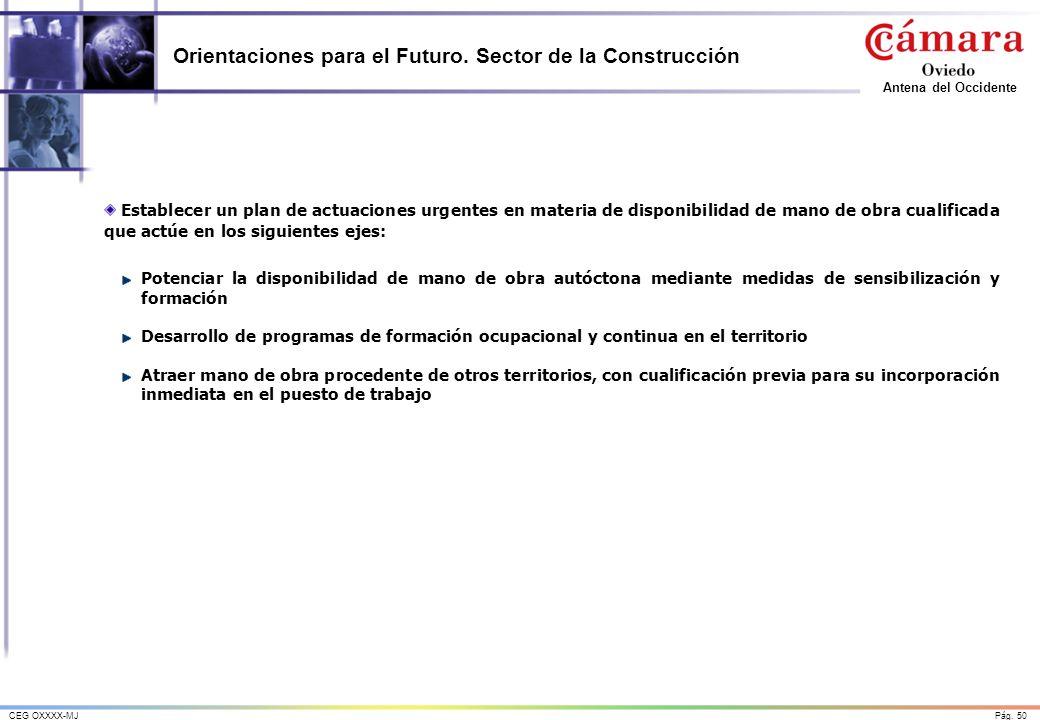 Pág. 50CEG OXXXX-MJ Antena del Occidente Orientaciones para el Futuro. Sector de la Construcción Establecer un plan de actuaciones urgentes en materia