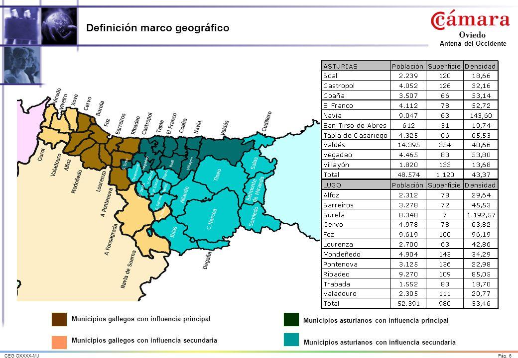 Pág. 6CEG OXXXX-MJ Antena del Occidente Definición marco geográfico Municipios asturianos con influencia secundaria Municipios asturianos con influenc