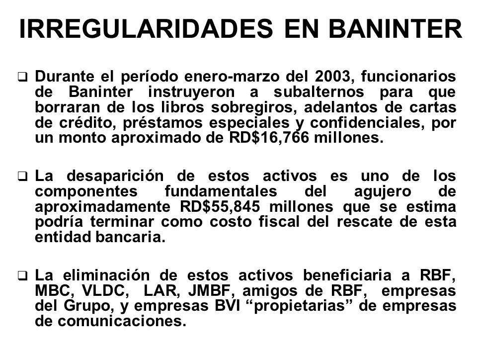 IRREGULARIDADES EN BANINTER Durante el período enero-marzo del 2003, funcionarios de Baninter instruyeron a subalternos para que borraran de los libro
