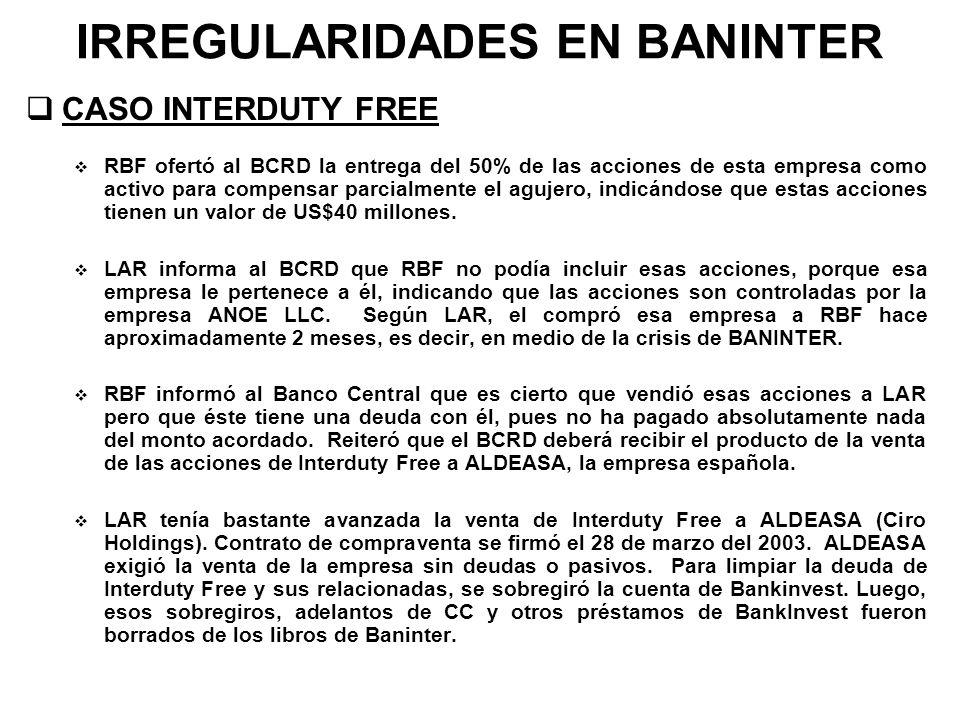 IRREGULARIDADES EN BANINTER CASO INTERDUTY FREE RBF ofertó al BCRD la entrega del 50% de las acciones de esta empresa como activo para compensar parci