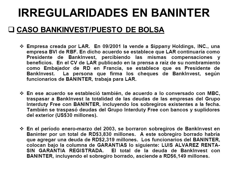 IRREGULARIDADES EN BANINTER CASO BANKINVEST/PUESTO DE BOLSA Empresa creada por LAR. En 09/2001 la vende a Sippany Holdings, INC., una empresa BVI de R