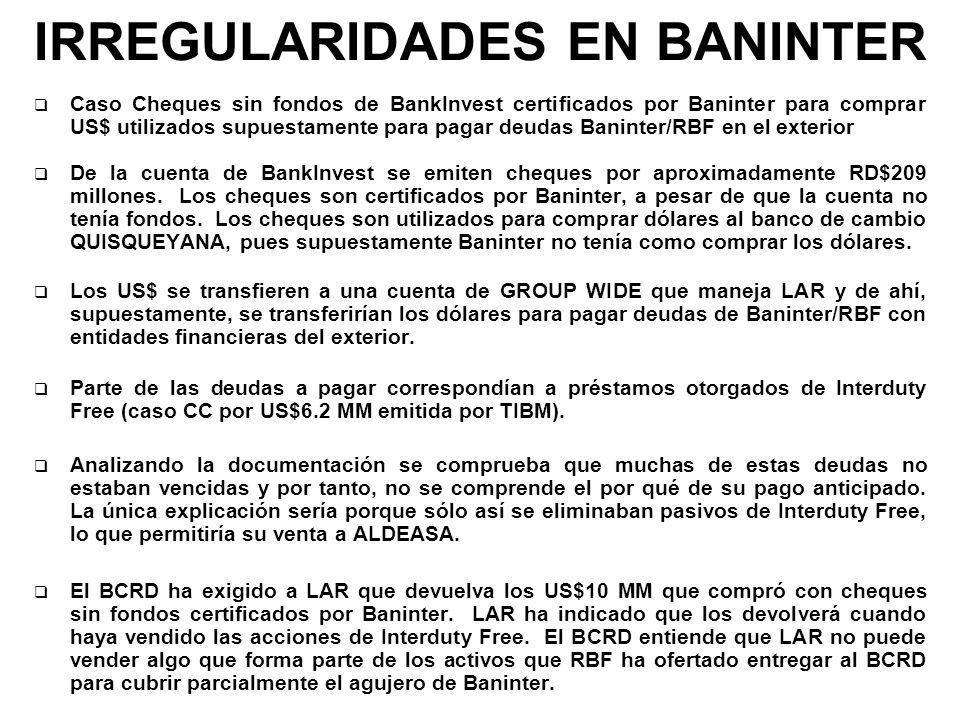 IRREGULARIDADES EN BANINTER Caso Cheques sin fondos de BankInvest certificados por Baninter para comprar US$ utilizados supuestamente para pagar deuda