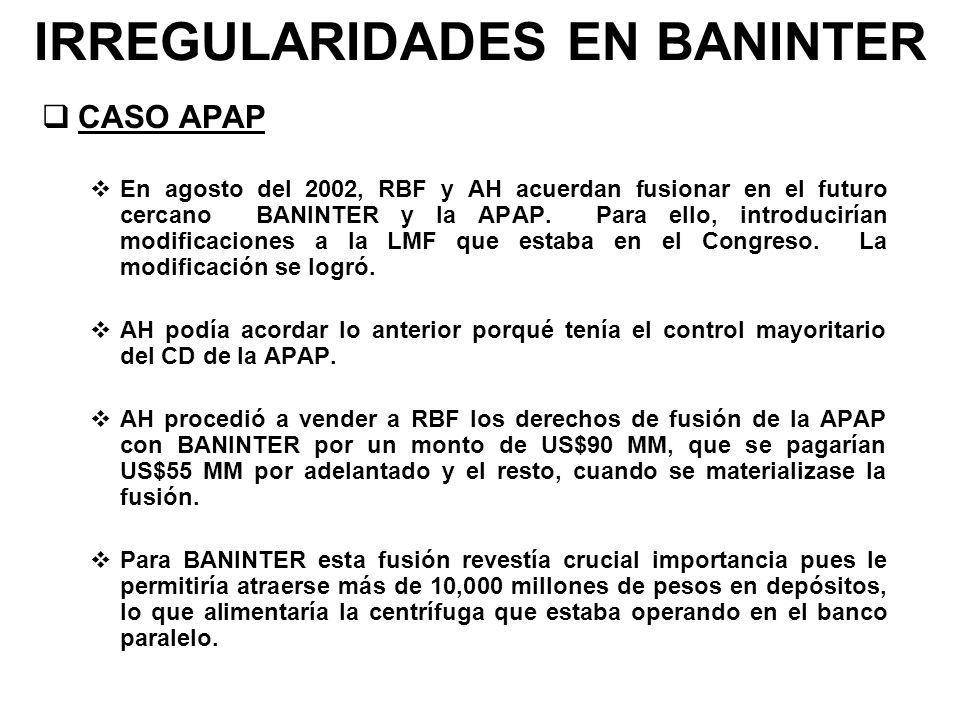 IRREGULARIDADES EN BANINTER CASO APAP En agosto del 2002, RBF y AH acuerdan fusionar en el futuro cercano BANINTER y la APAP. Para ello, introducirían
