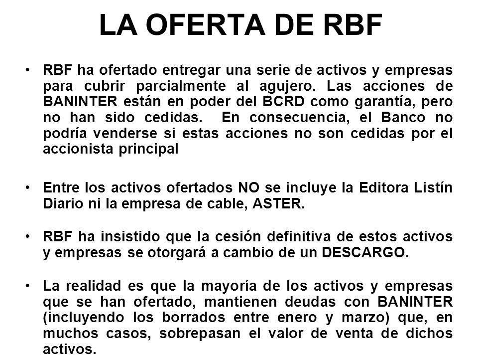 LA OFERTA DE RBF RBF ha ofertado entregar una serie de activos y empresas para cubrir parcialmente al agujero. Las acciones de BANINTER están en poder