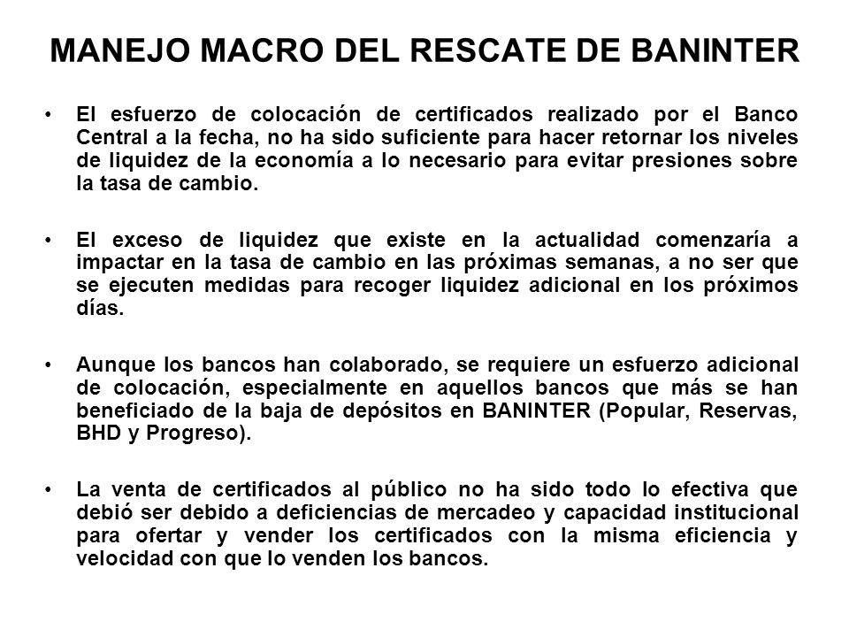 MANEJO MACRO DEL RESCATE DE BANINTER El esfuerzo de colocación de certificados realizado por el Banco Central a la fecha, no ha sido suficiente para h