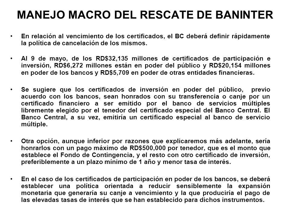 MANEJO MACRO DEL RESCATE DE BANINTER En relación al vencimiento de los certificados, el BC deberá definir rápidamente la política de cancelación de lo