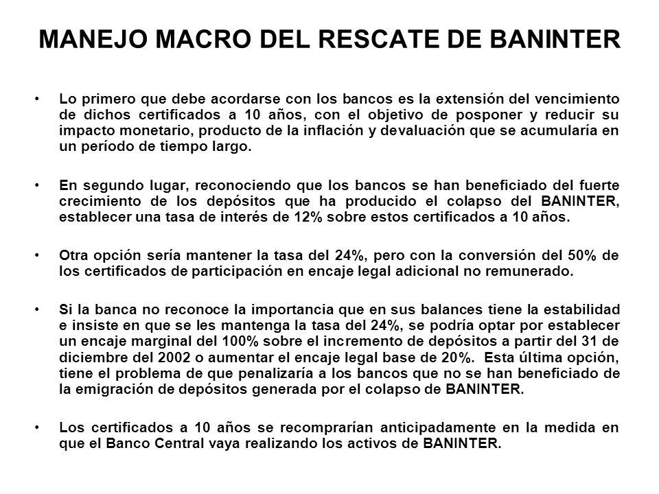 MANEJO MACRO DEL RESCATE DE BANINTER Lo primero que debe acordarse con los bancos es la extensión del vencimiento de dichos certificados a 10 años, co