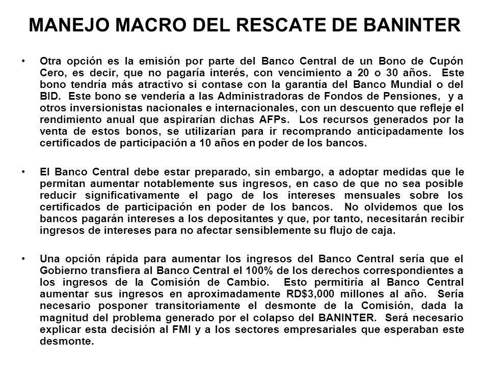 MANEJO MACRO DEL RESCATE DE BANINTER Otra opción es la emisión por parte del Banco Central de un Bono de Cupón Cero, es decir, que no pagaría interés,