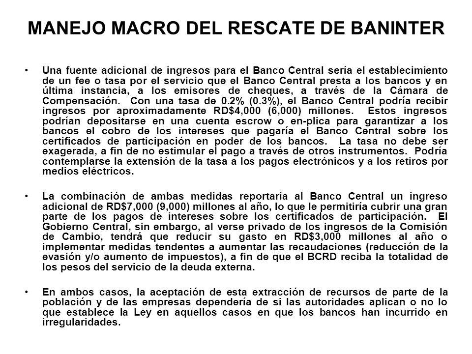 MANEJO MACRO DEL RESCATE DE BANINTER Una fuente adicional de ingresos para el Banco Central sería el establecimiento de un fee o tasa por el servicio