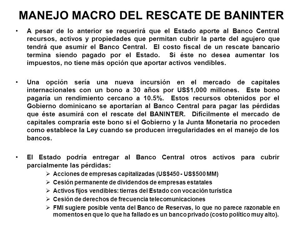 MANEJO MACRO DEL RESCATE DE BANINTER A pesar de lo anterior se requerirá que el Estado aporte al Banco Central recursos, activos y propiedades que per
