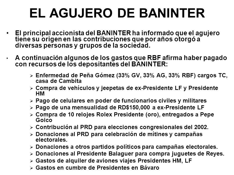 EL AGUJERO DE BANINTER El principal accionista del BANINTER ha informado que el agujero tiene su origen en las contribuciones que por años otorgó a di