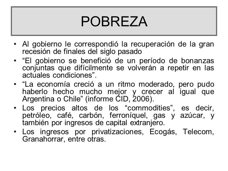 POBREZA Al gobierno le correspondió la recuperación de la gran recesión de finales del siglo pasado El gobierno se benefició de un período de bonanzas