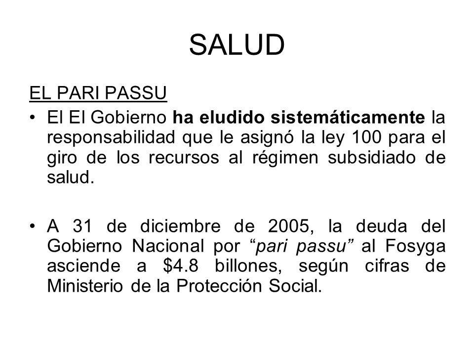 SALUD EL PARI PASSU El El Gobierno ha eludido sistemáticamente la responsabilidad que le asignó la ley 100 para el giro de los recursos al régimen sub