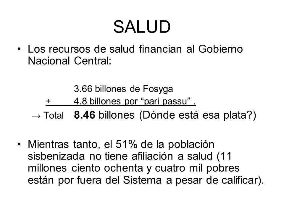 SALUD Los recursos de salud financian al Gobierno Nacional Central: 3.66 billones de Fosyga +4.8 billones por pari passu. Total 8.46 billones (Dónde e