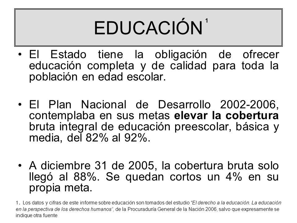 EDUCACIÓN El Estado tiene la obligación de ofrecer educación completa y de calidad para toda la población en edad escolar. El Plan Nacional de Desarro