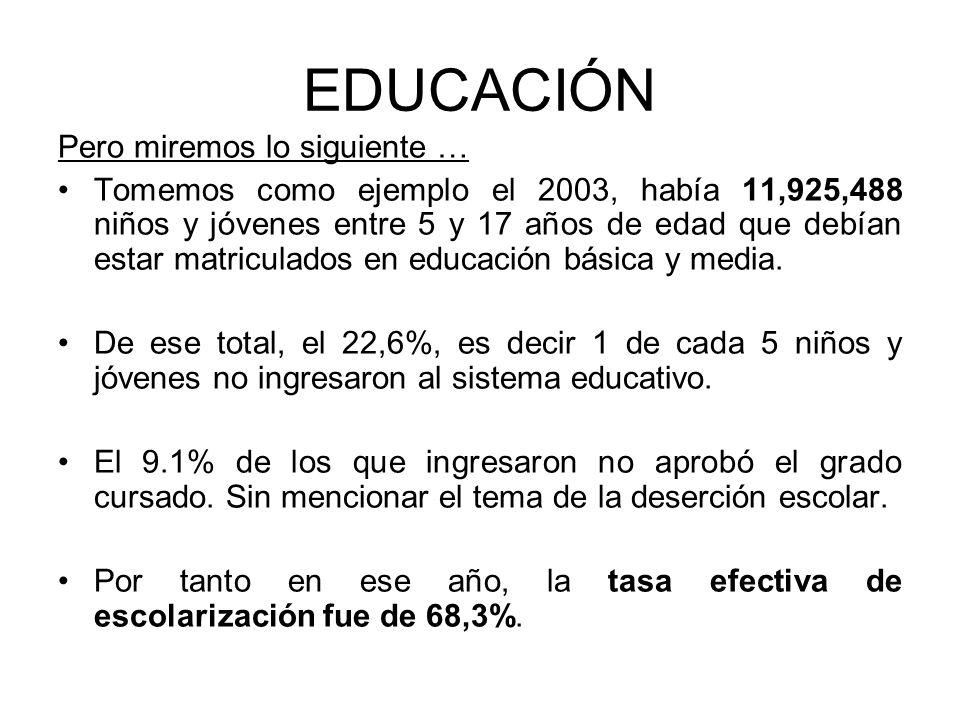 EDUCACIÓN Pero miremos lo siguiente … Tomemos como ejemplo el 2003, había 11,925,488 niños y jóvenes entre 5 y 17 años de edad que debían estar matric