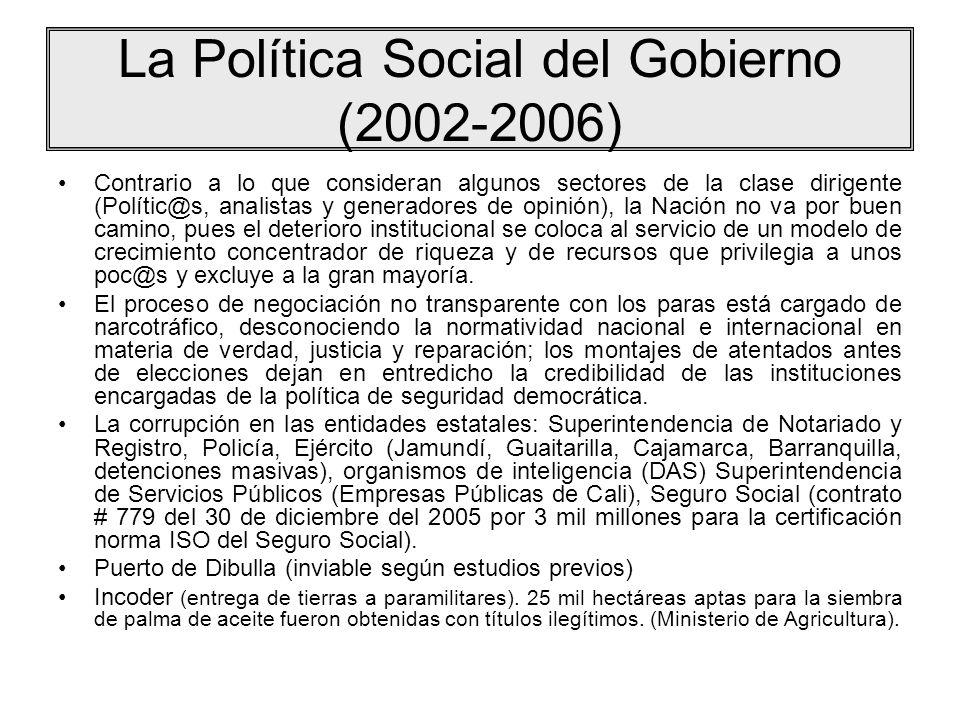 La Política Social del Gobierno (2002-2006) Contrario a lo que consideran algunos sectores de la clase dirigente (Polític@s, analistas y generadores d