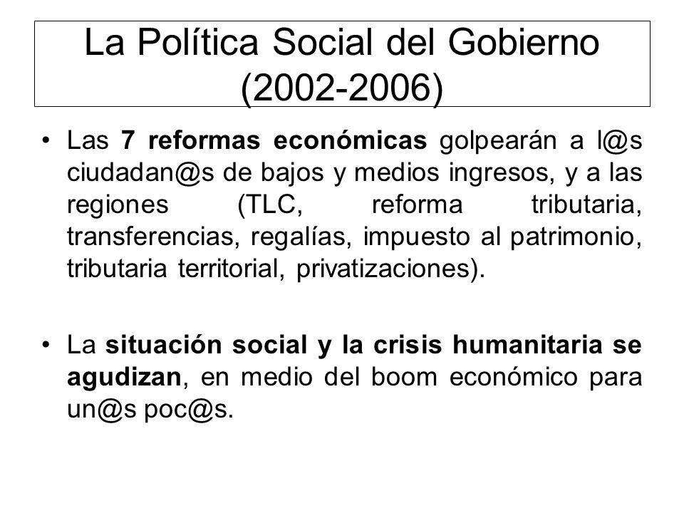 La Política Social del Gobierno (2002-2006) Las 7 reformas económicas golpearán a l@s ciudadan@s de bajos y medios ingresos, y a las regiones (TLC, re