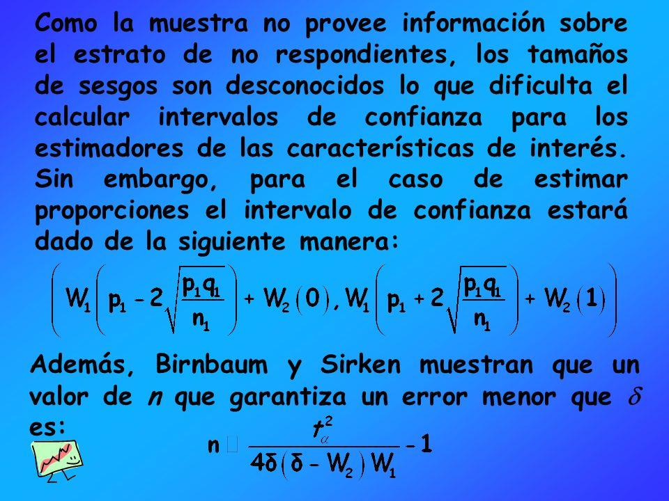 Como la muestra no provee información sobre el estrato de no respondientes, los tamaños de sesgos son desconocidos lo que dificulta el calcular interv
