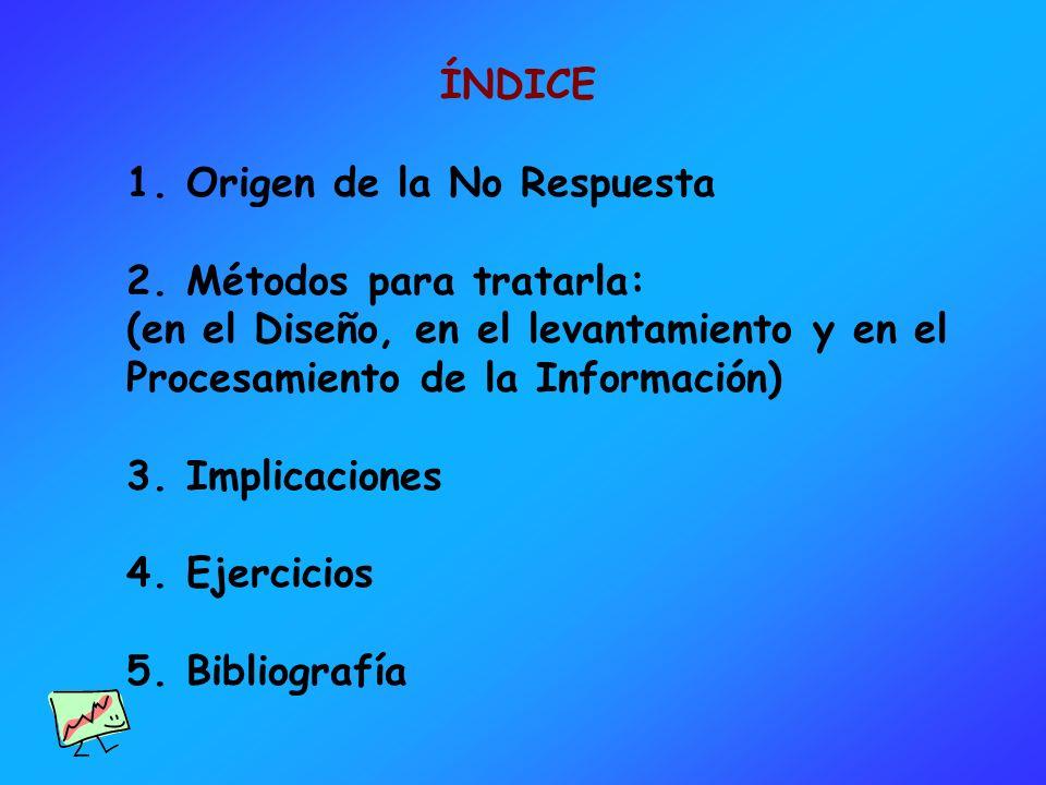 ÍNDICE 1. Origen de la No Respuesta 2. Métodos para tratarla: (en el Diseño, en el levantamiento y en el Procesamiento de la Información) 3. Implicaci