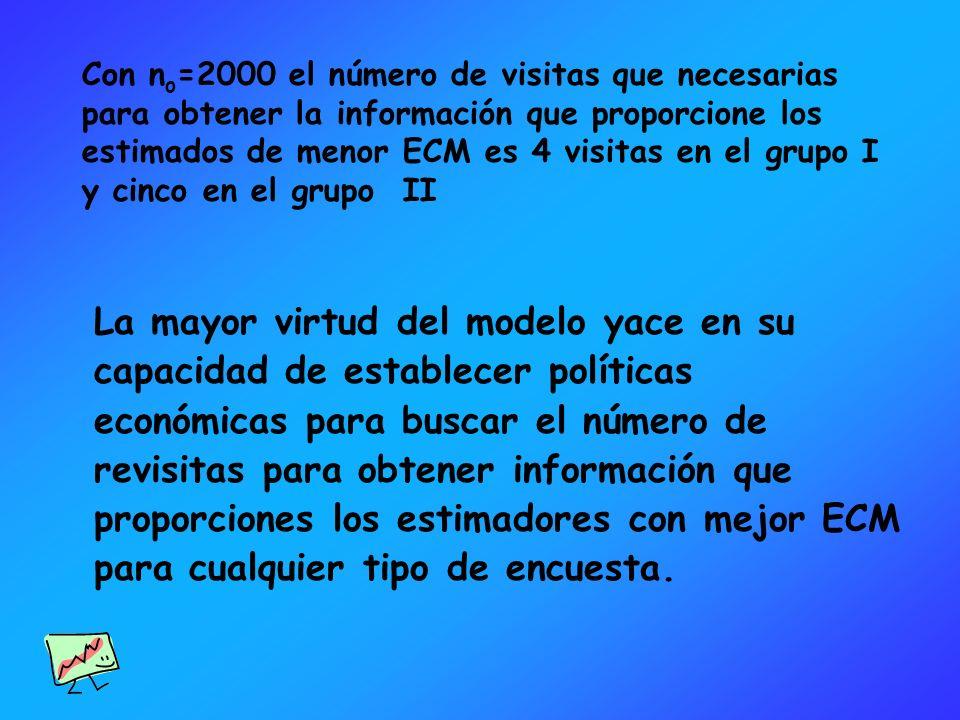 Con n o =2000 el número de visitas que necesarias para obtener la información que proporcione los estimados de menor ECM es 4 visitas en el grupo I y