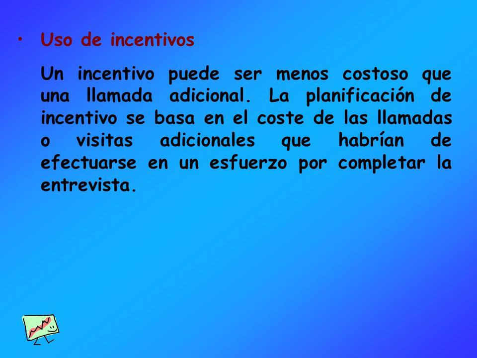 Uso de incentivos Un incentivo puede ser menos costoso que una llamada adicional. La planificación de incentivo se basa en el coste de las llamadas o