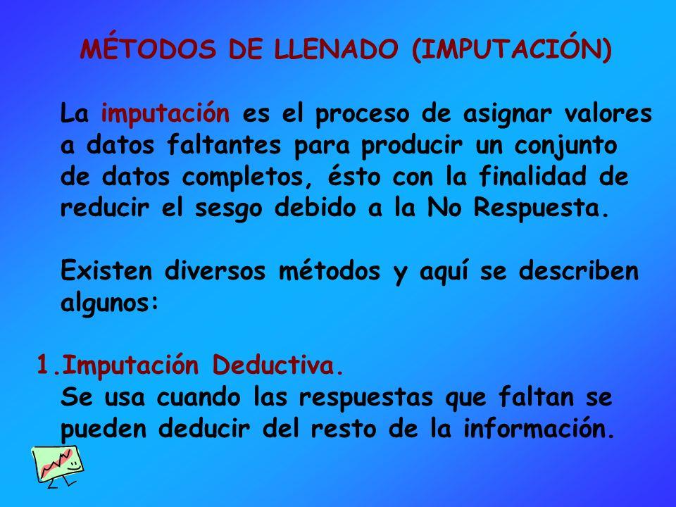 MÉTODOS DE LLENADO (IMPUTACIÓN) La imputación es el proceso de asignar valores a datos faltantes para producir un conjunto de datos completos, ésto co