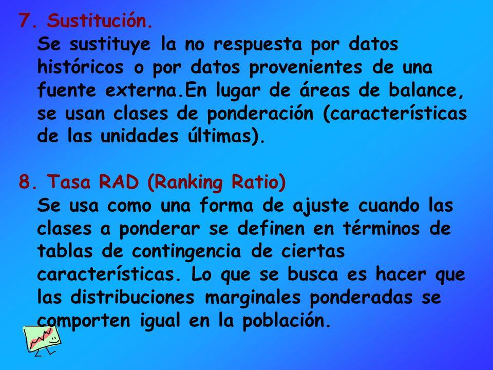 7. Sustitución. Se sustituye la no respuesta por datos históricos o por datos provenientes de una fuente externa.En lugar de áreas de balance, se usan