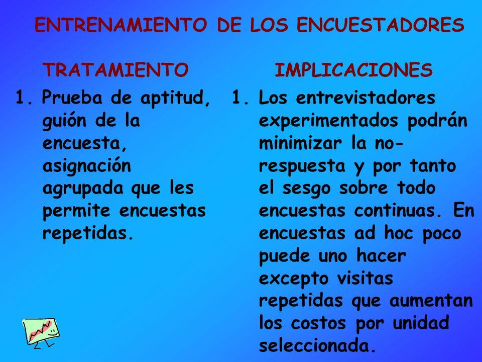 ENTRENAMIENTO DE LOS ENCUESTADORES TRATAMIENTO 1. Prueba de aptitud, guión de la encuesta, asignación agrupada que les permite encuestas repetidas. IM