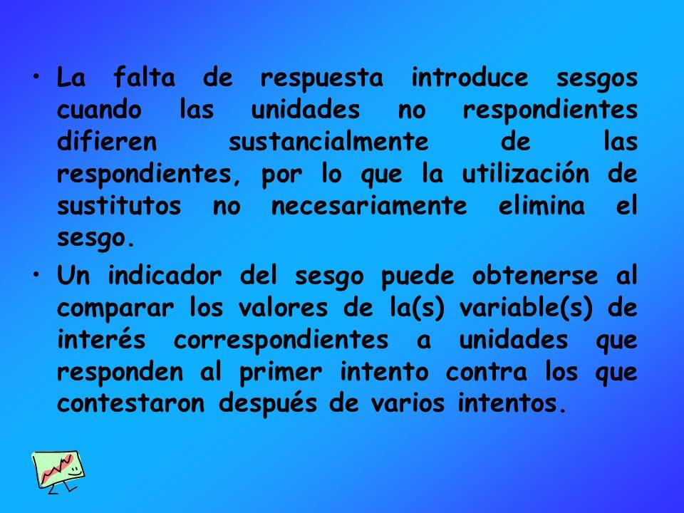 La falta de respuesta introduce sesgos cuando las unidades no respondientes difieren sustancialmente de las respondientes, por lo que la utilización d