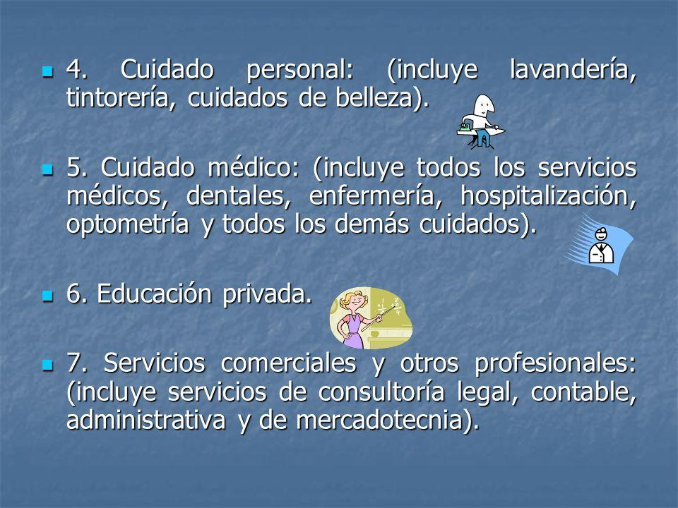 Los servicios 1.-Vivienda: (incluye el alquiler de hoteles, motéeles, apartamentos, casas y granjas).