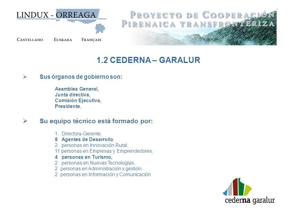 1.2 CEDERNA – GARALUR Sus órganos de gobierno son: Asamblea General, Junta directiva, Comisión Ejecutiva, Presidente. Su equipo técnico está formado p