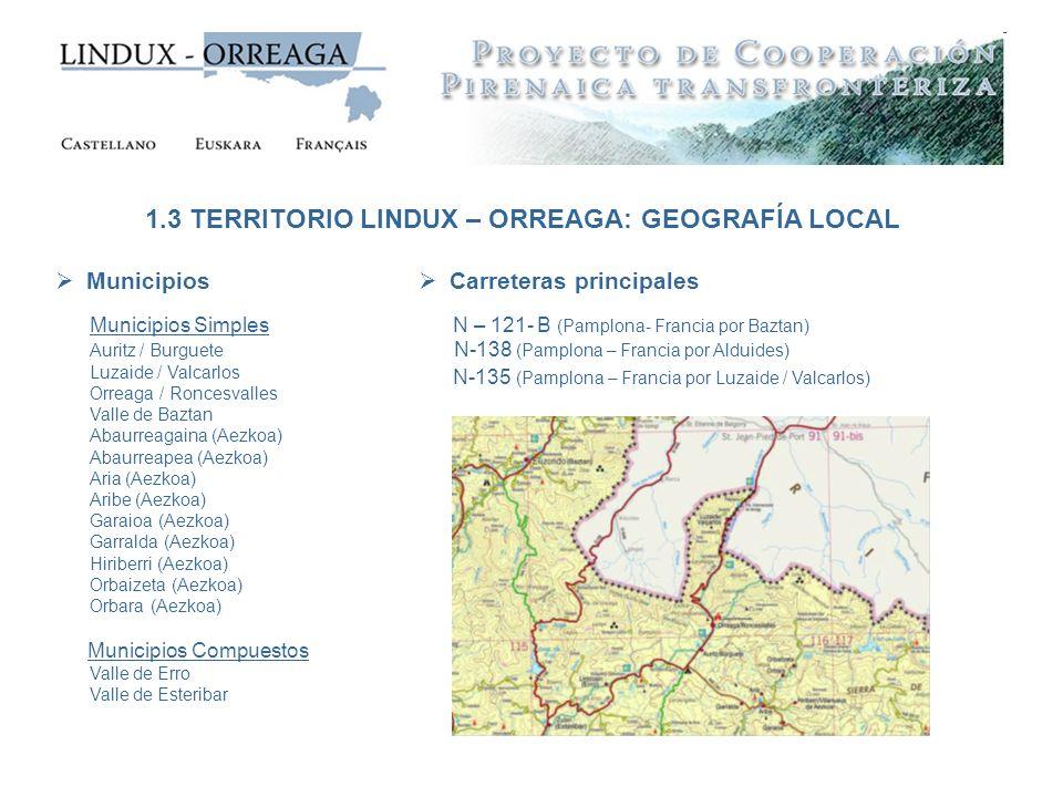 Municipios Municipios Simples Auritz / Burguete Luzaide / Valcarlos Orreaga / Roncesvalles Valle de Baztan Abaurreagaina (Aezkoa) Abaurreapea (Aezkoa)