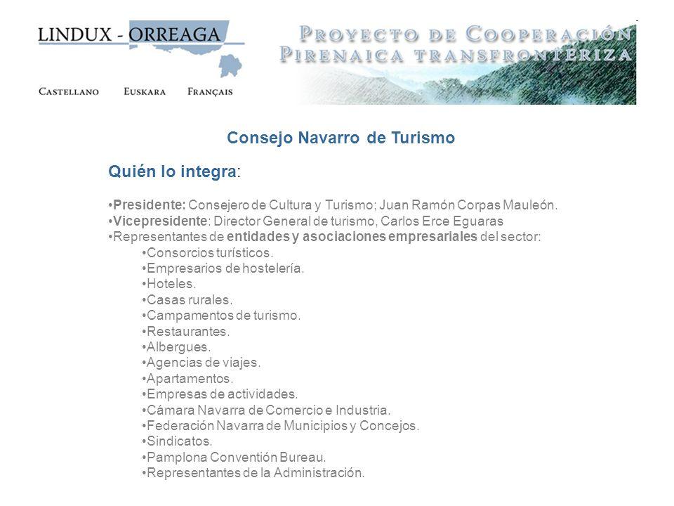 Consejo Navarro de Turismo Quién lo integra: Presidente: Consejero de Cultura y Turismo; Juan Ramón Corpas Mauleón. Vicepresidente: Director General d