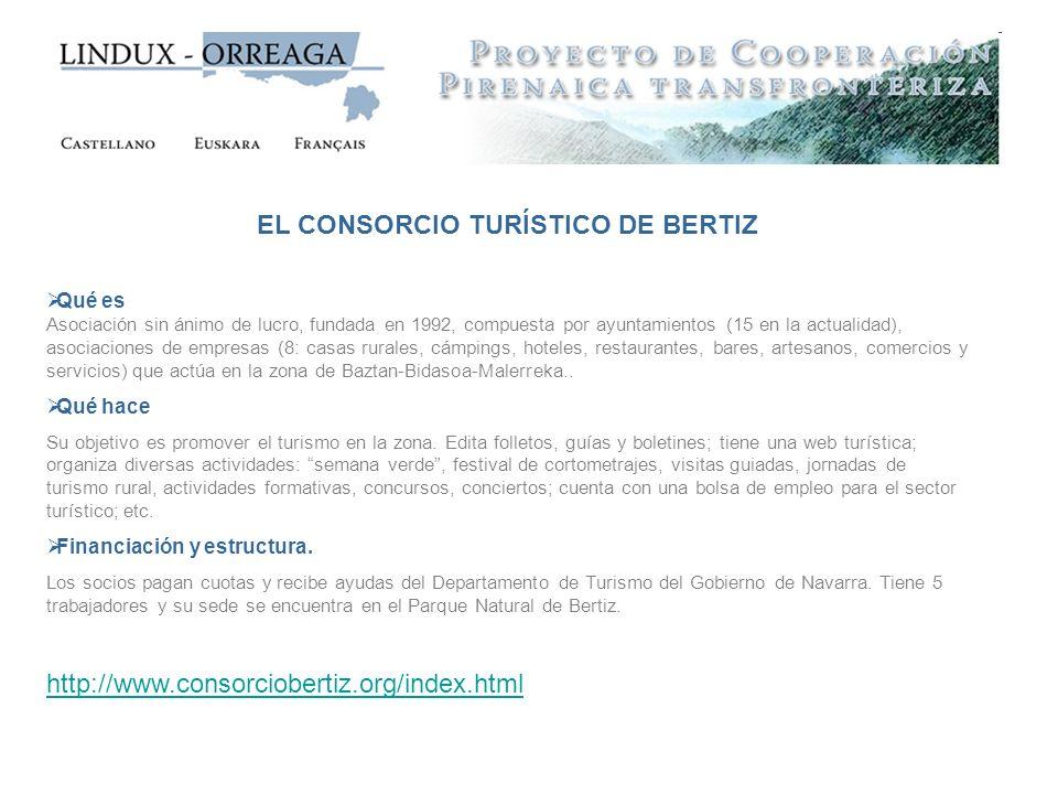 EL CONSORCIO TURÍSTICO DE BERTIZ Qué es Asociación sin ánimo de lucro, fundada en 1992, compuesta por ayuntamientos (15 en la actualidad), asociacione