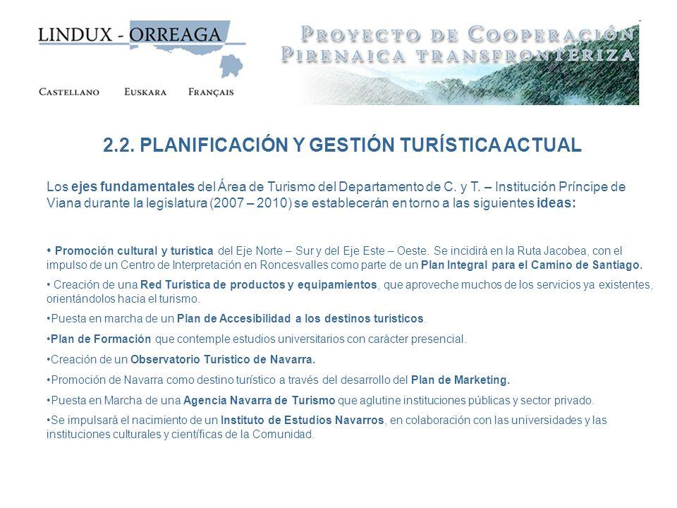 2.2. PLANIFICACIÓN Y GESTIÓN TURÍSTICA ACTUAL Los ejes fundamentales del Área de Turismo del Departamento de C. y T. – Institución Príncipe de Viana d